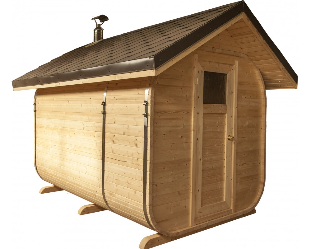 Pirtele medinė -  dvišlaičiu stogu